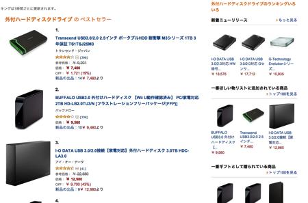外付けHDD-amazon
